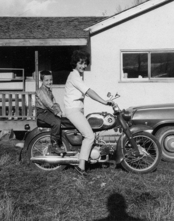mom and dave on a motorcycle