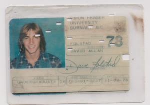 David Folstad SFU Student card
