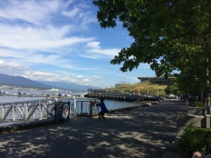 walking along Coal Harbour