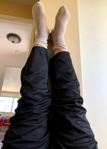 Just a whimsical photo I took of my feet up on the wall, having a stretch ! Looking up in the world !
