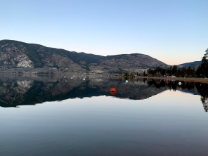 Skaha lake at 6 am last week, cool but calm. The lake is so reflective sometimes.