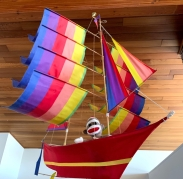 This monkey sailor overlooks the living room at home