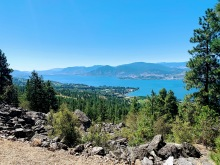 Looking down from the tunnel – way down there at the far end is Penticton, this is from Naramata and opposite from Summerland. Downhill basically all the way home, wahoo