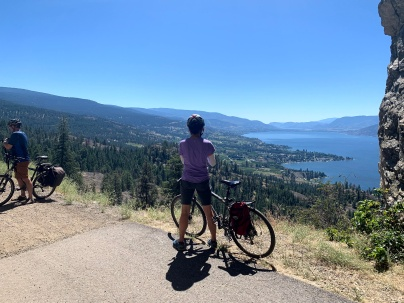 At the mouth of cave looking down the valley, at the far end of Okanagan lake is Penticton. Sheer drop here !
